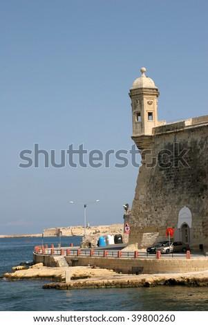 Senglea Vedette and bastion overlooking Grand Harbour Malta