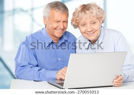 Senior Adult, Couple, Computer.