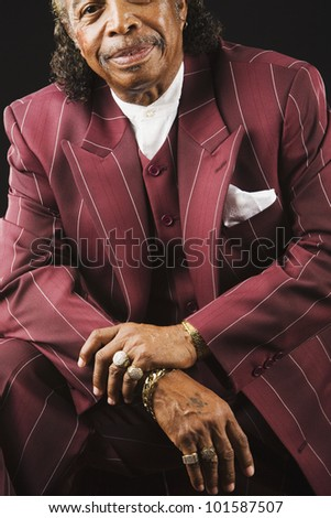 Senior African man wearing suit