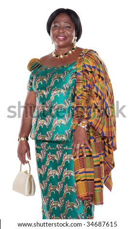 Ghana Dress Styles http://www.shutterstock.com/pic-34687615/stock-photo-senior-african-woman-with-traditional-ghana-clothing-green-dress-and-white-handbag.html