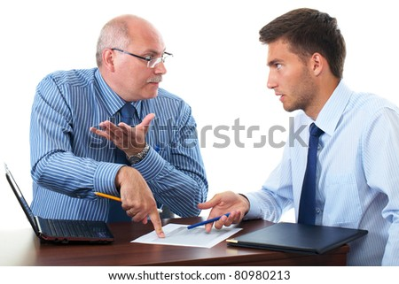 senior and junior businessman discuss and argue over something during their meeting, isolated on white