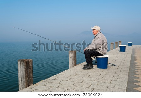 Senior angler at Lake Balaton,Hungary