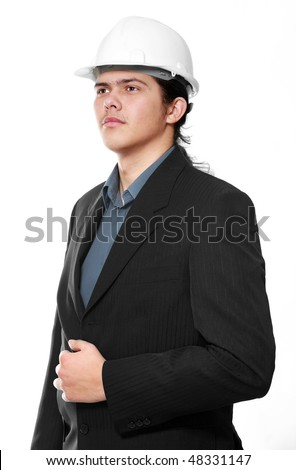 Senior architect isolated on a white background