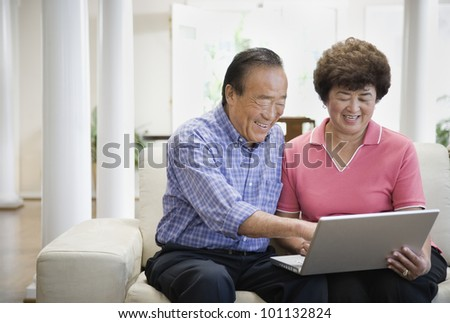 Senior Asian couple looking at laptop