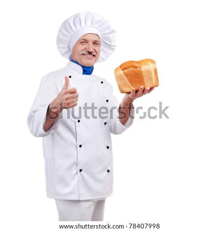 Senior baker holding bread in his hands