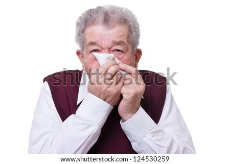 Senior blows his nose