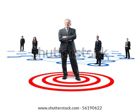 senior business leader and his teamwork on 3d connection background