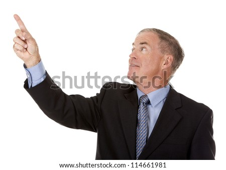 senior business man is pointing at invisible object