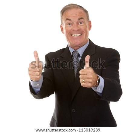 senior business man showing thumbs up gesture on white