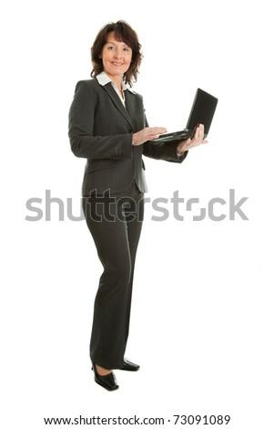 Senior business woman using laptop