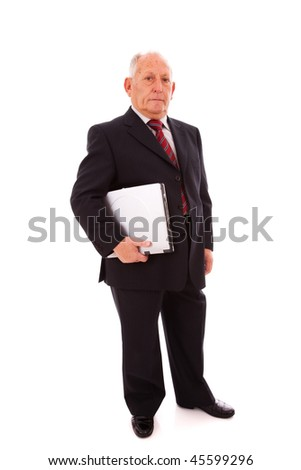 senior businessman holding a laptop (isolated on white)