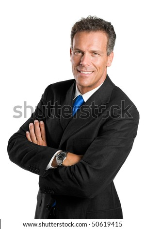Friendly Man With Arms Crossed Isolated On White Images And