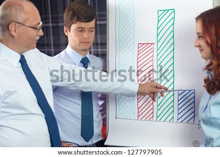 Senior businessman point to graphs on flip chart