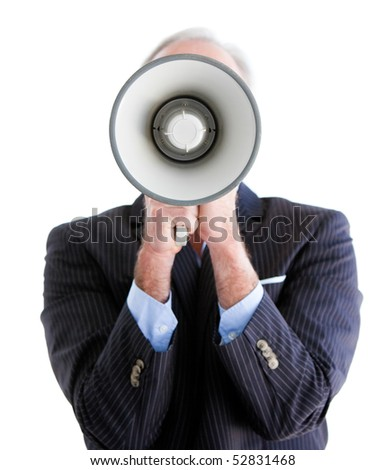 Senior businessman using a megaphone against a white background