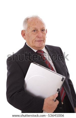 senior businessman with a laptop (isolated on white)