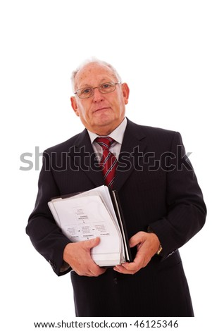senior businessman with documents (isolated on white)