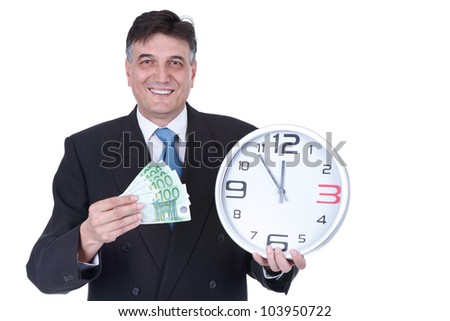 senior businessman with money and wall clock, concept time is money