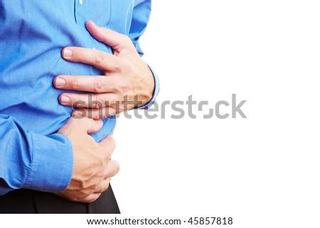 Senior citizen holding his sick belly