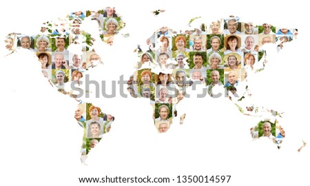 Senior citizen portrait collage on world map as concept for age, society, pension and community