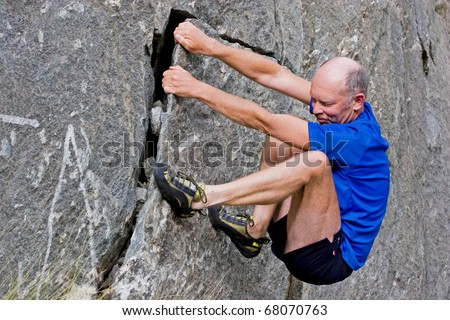 Senior climbing, - stock photo