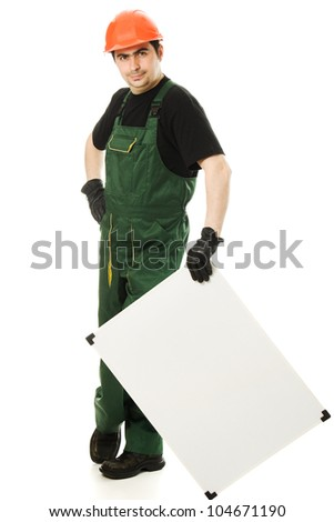 Senior constructor holding the blank board on a white background