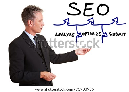 Senior consultant explaining SEO with a simple chart