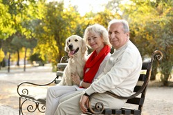 Senior couple and big dog sitting on bench in park