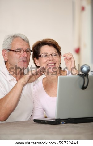 Senior couple and videocall