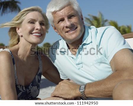 Senior couple at beach on sunny a day