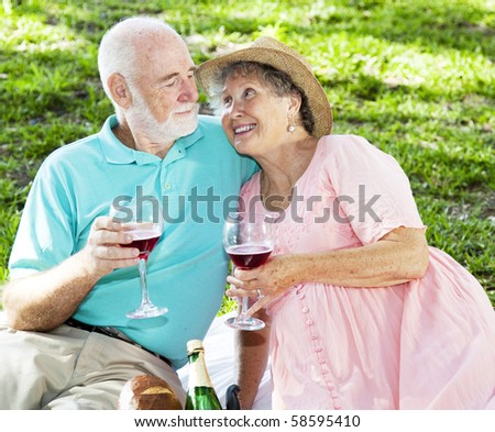 Senior couple drink wine on a romantic picnic in the park. - stock photo