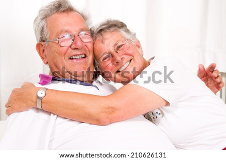 senior couple embracing each other