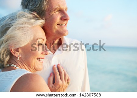 Senior Couple Getting Married In Beach Ceremony #142807588