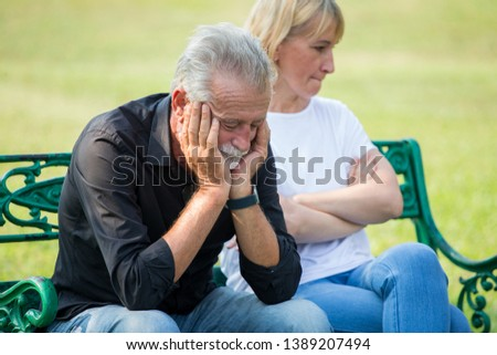 senior couple having problems in relationship  at park together in morning time. old people Argument . Elderly resting .mature relationships. family