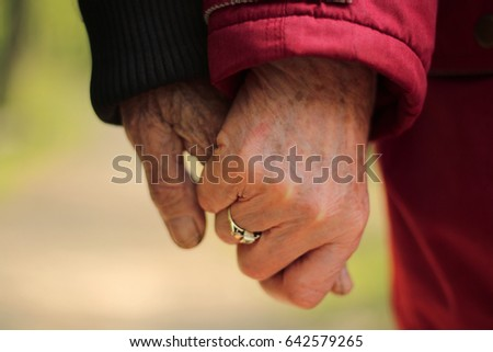 Senior couple in love holding hand in hand in the forest #642579265
