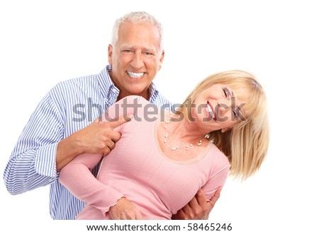 Senior couple in love. Isolated over white background