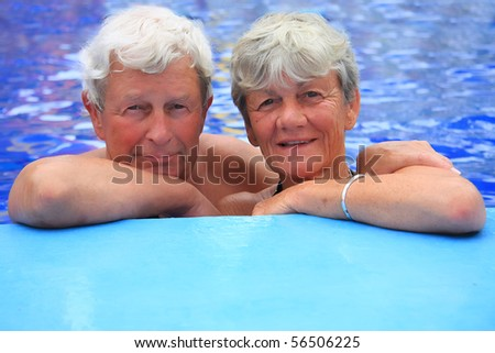 Senior couple in the swimming pool
