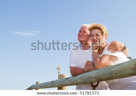 senior couple looking away