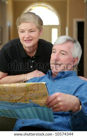 Senior couple making plans during their retirement
