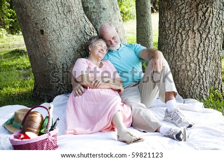 Senior couple relaxing on a picnic in the park.