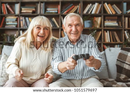 senior couple together at home...