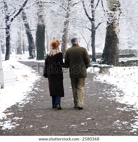 Senior couple walking in park at winter