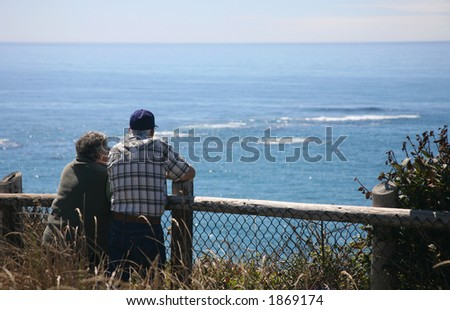 Senior Couple Whale Watching at the Coast