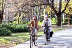 Senior couple with bycicles and helmets in park