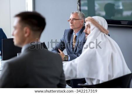 Senior director hold meeting in office