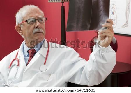 Senior doctor examining x-ray