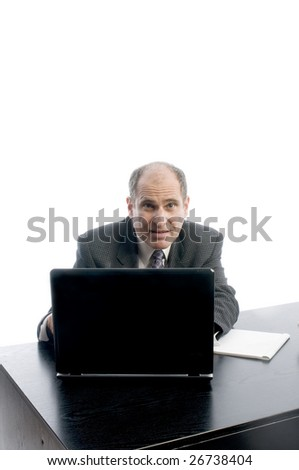 senior executive business corporate man at desk makin positive point about job on computer