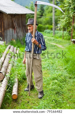 Senior farmer using scythe to mow the lawn traditionally