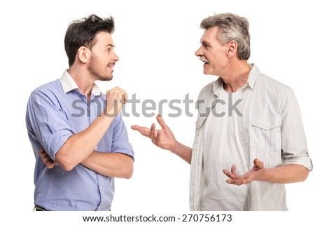 Senior father with adult son talking, isolated white background. #270756173