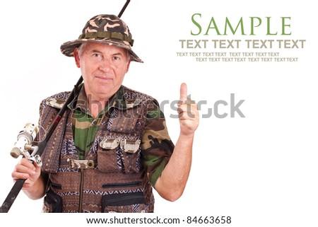 Senior fisherman isolated on white background