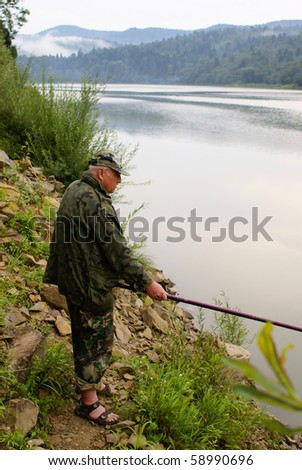Senior fishing